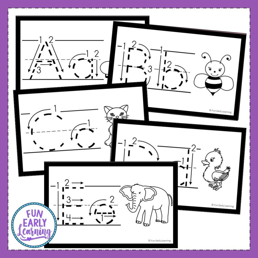 Alphabet Animal Tracing Cards For Letters And Writing