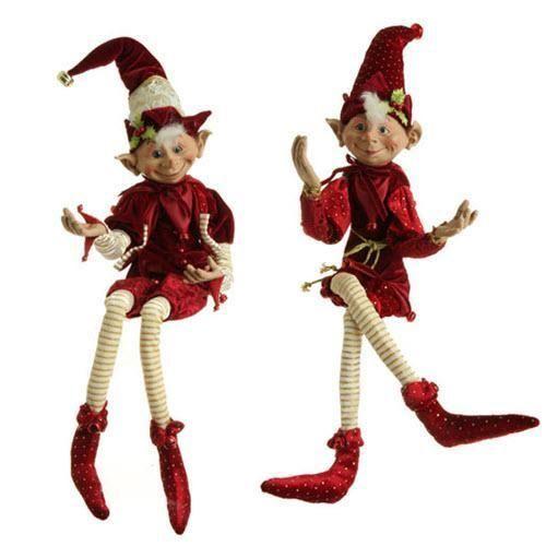 "RAZ Imports 30"" Posable Elf Set Of 2 Burgundy Handcrafted"