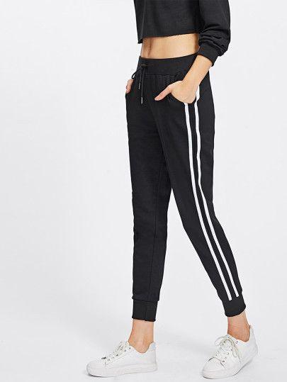 20b54c0f2633 Stripe Tape Side Sweatpants -SheIn(Sheinside) | Addicted ...