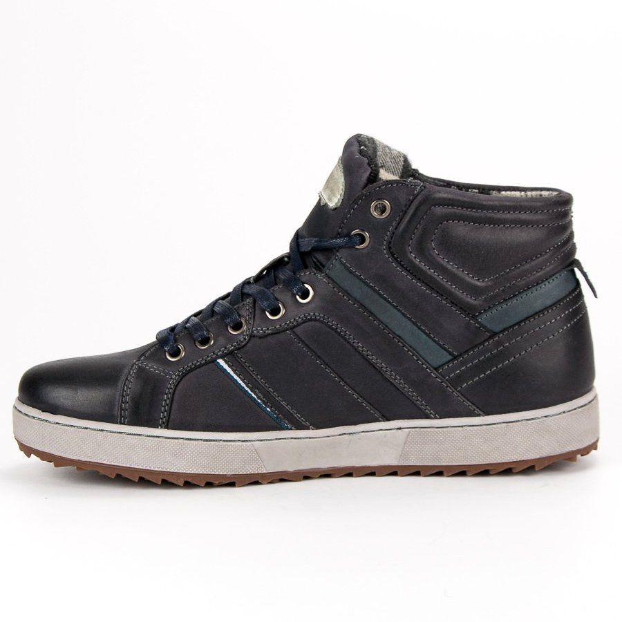 Sportowe Meskie Butymodne Czarne Skorzane Trampki Nad Kostke High Top Sneakers Shoes Sneakers