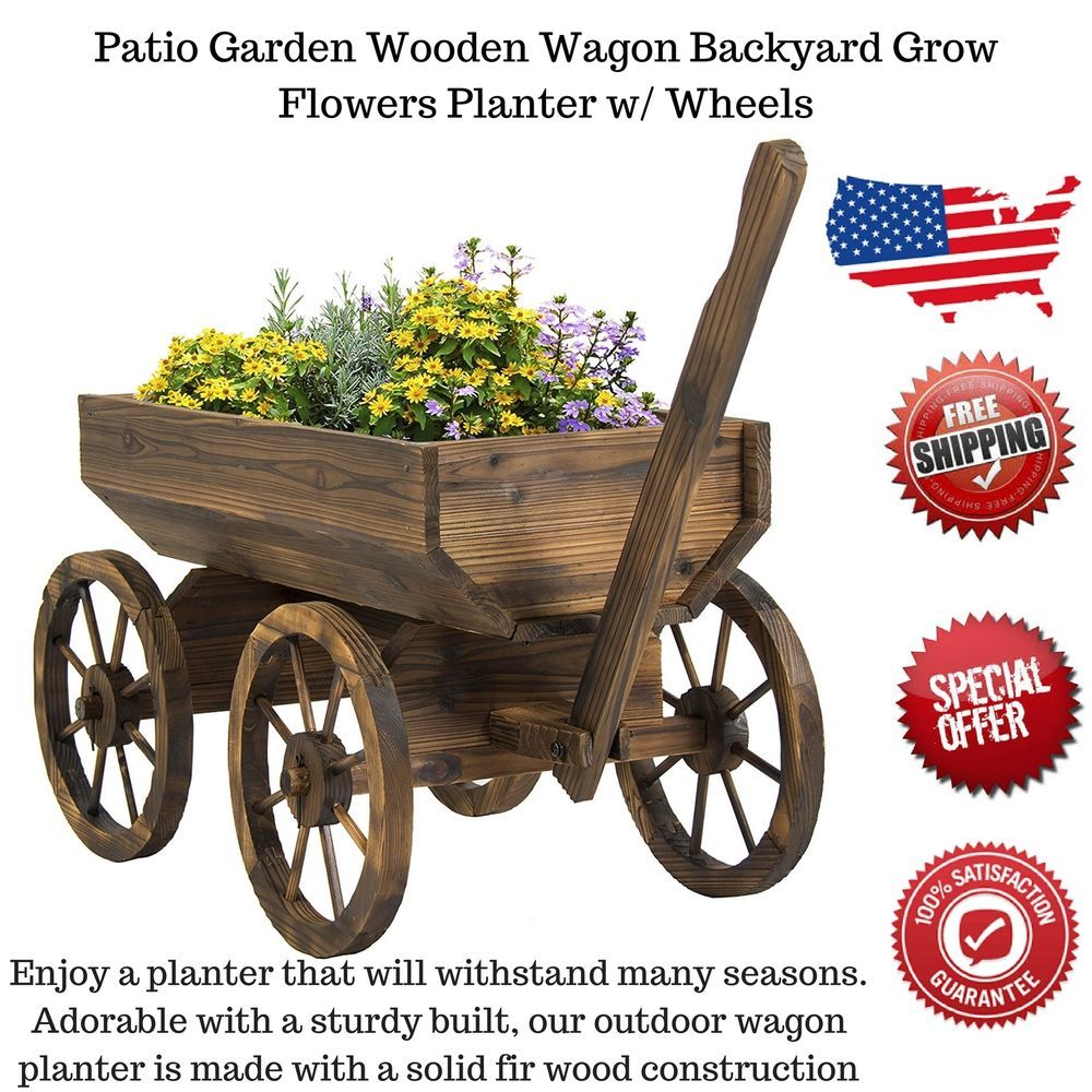 Details About Garden Wagon Planter Outdoor Decor Flower Wooden Wheelbarrow  Home Yard Wheels US
