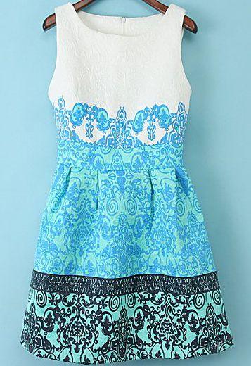 rmelloses kleid mit jacquard und blumenmuster blau gefunden pinterest. Black Bedroom Furniture Sets. Home Design Ideas