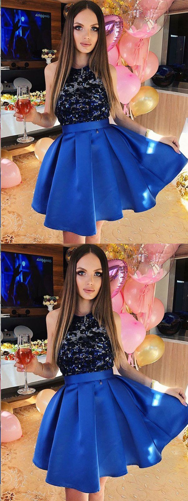 Aline sequined royal blue satin homecoming dressshort prom dresses