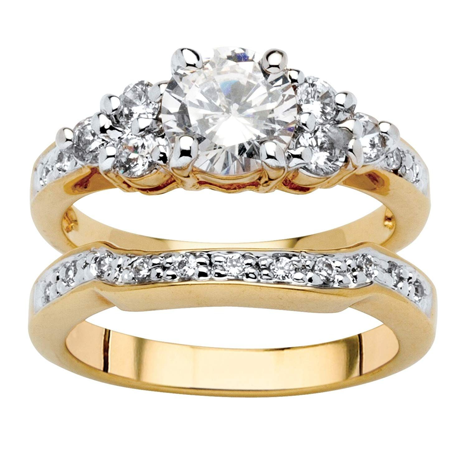 Palm Beach Jewelry 18k Yellow Gold Plated Round Cubic Zirconia Bridal Ring Set Do Hope You Actual Engagement Wedding Ring Sets Bridal Rings Bridal Ring Set