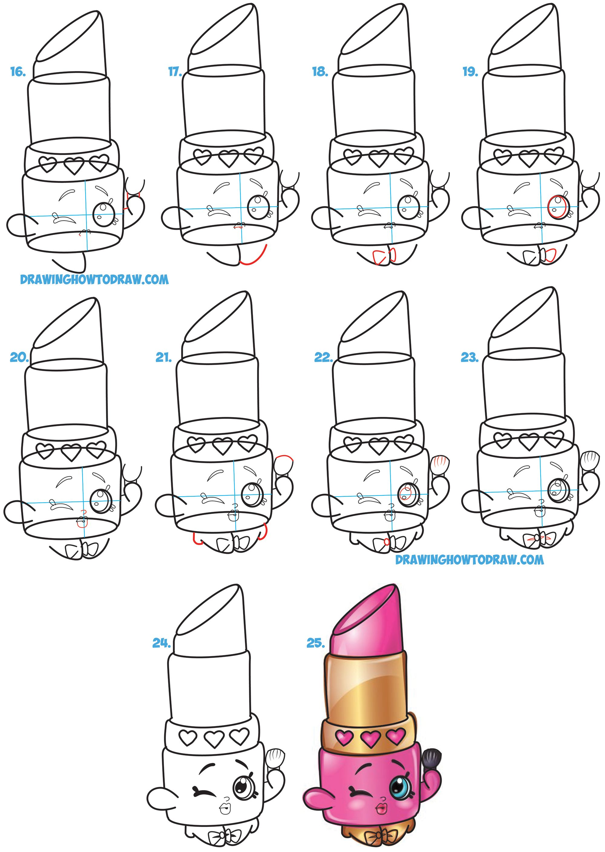 Learn how to draw lippy lips cute lipstick from shopkins simple steps drawing lesson for kids