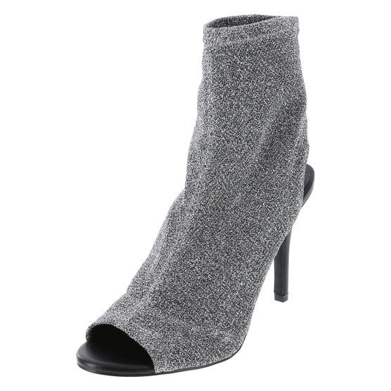 9d65d3a4136 Women s Piper Knit Sock Booties. Stretchy knit. Glove boot. Glove heel.  Sock book. Sock heel. Silver heel. Silver boot.