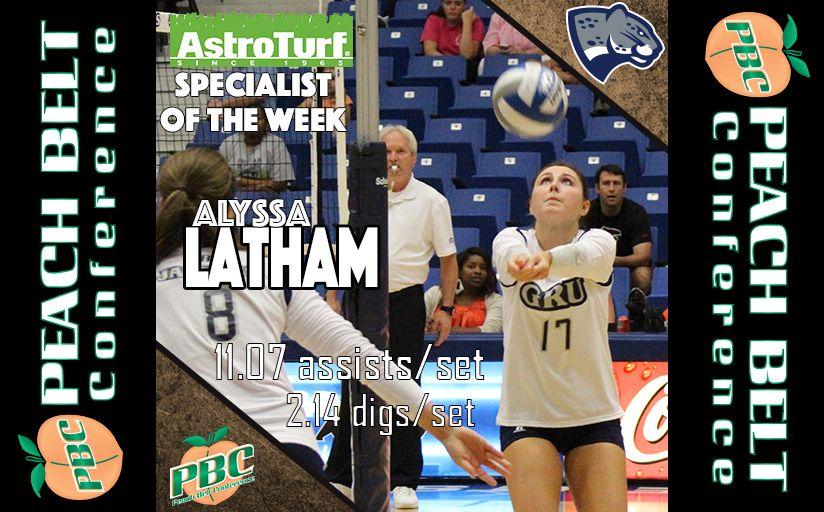 Volleyball Specialist Of The Week Alyssa Latham Georgia Regents Latham Volleyball Astro Turf