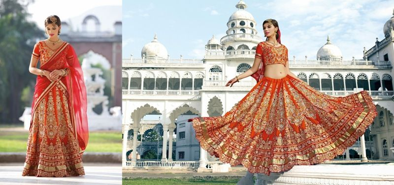 Attractive And Ravishing Fabulous Orange Stylish #BridalLehenga For #WomenClothing #CraftShopsIndia
