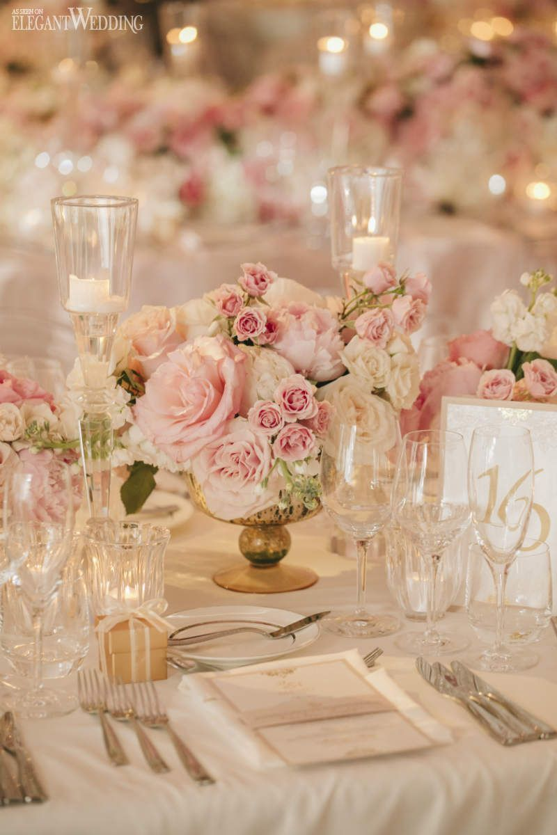 36 Blush Pink And Gold Wedding Color Inspirations Weddinginclude Pink And Gold Wedding Gold Wedding Centerpieces Floating Candles Wedding