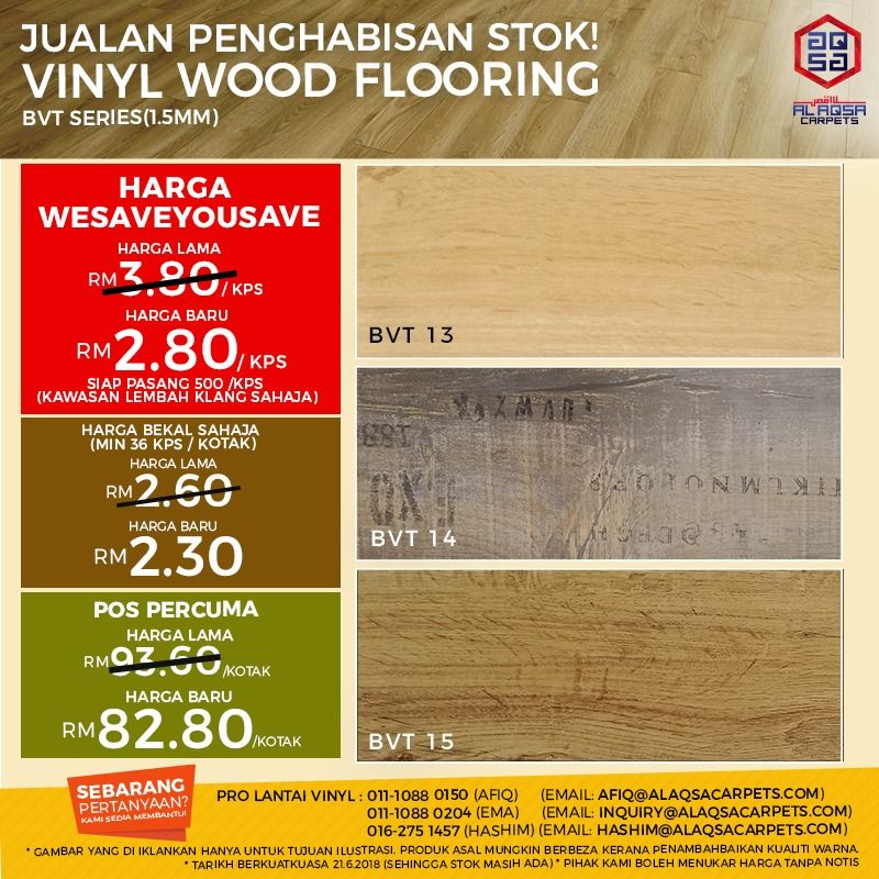 Stock Clearance Sale Promo Wood Vinyl 1 5mm Bvt Series Wood