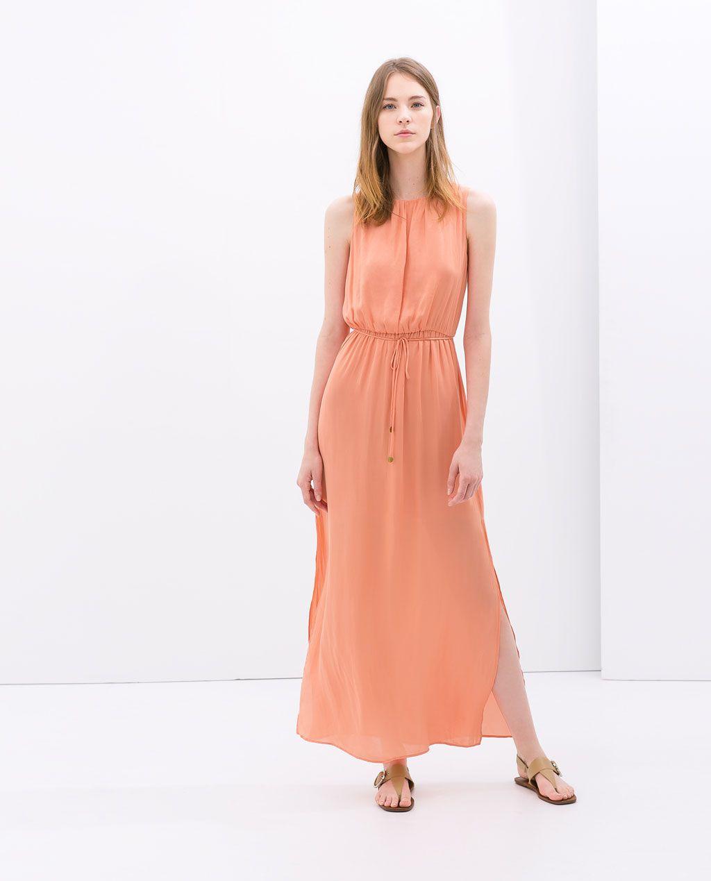VESTIDO COMPRIDO CINTO da Zara | Long Dresses | Pinterest