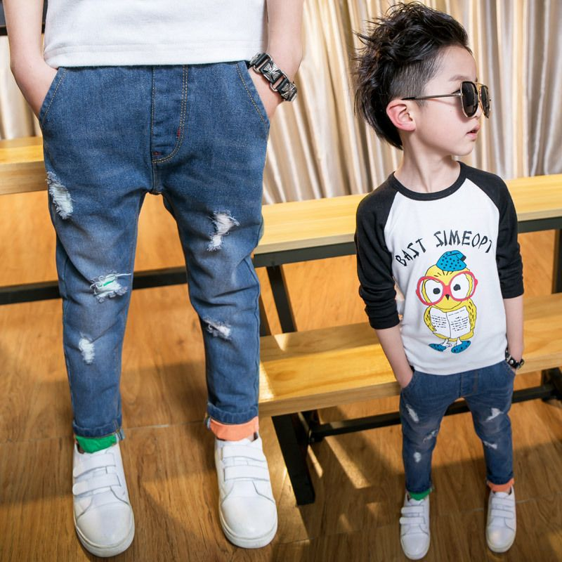 Click To Buy 2017 Spring Fashion Girls Boys Skinny Jeans For Boys Hole Soft Denim Long Pants Children Girls Spring Fashion Boy Skinny Jeans Kids Outfits