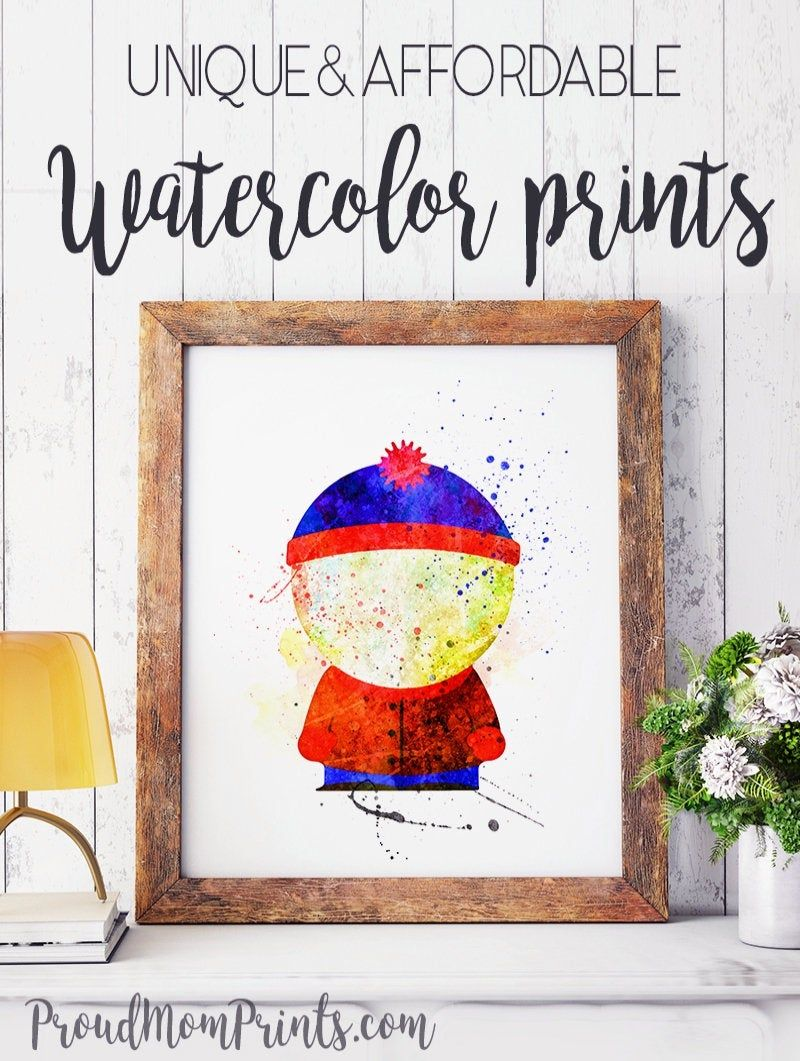 Wall Decor Animation Tv Show Poster Stan South Park Tv Series Wall Art Watercolor Kids Room Park Art Wall Art Prints Rose Wall Art