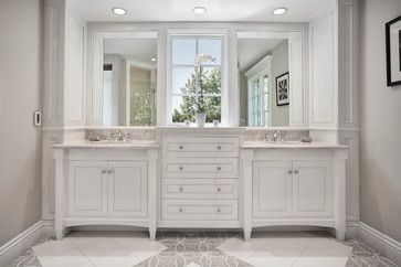Two Vanities With Drawers In The Middle I Like The Variation In Height And Depth Of The Cabinet Small Bathroom Remodel Traditional Bathroom Bathrooms Remodel