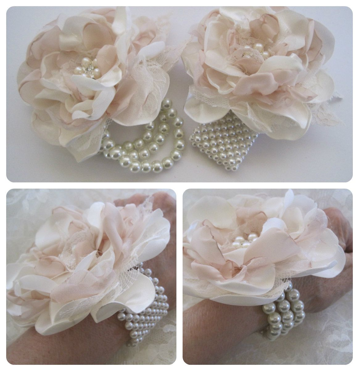 Ivory Mother Of Pearl Floor Vase In 2019: Wrist Corsage Ivory And Champagne Romantic Rose Pearl Cuff