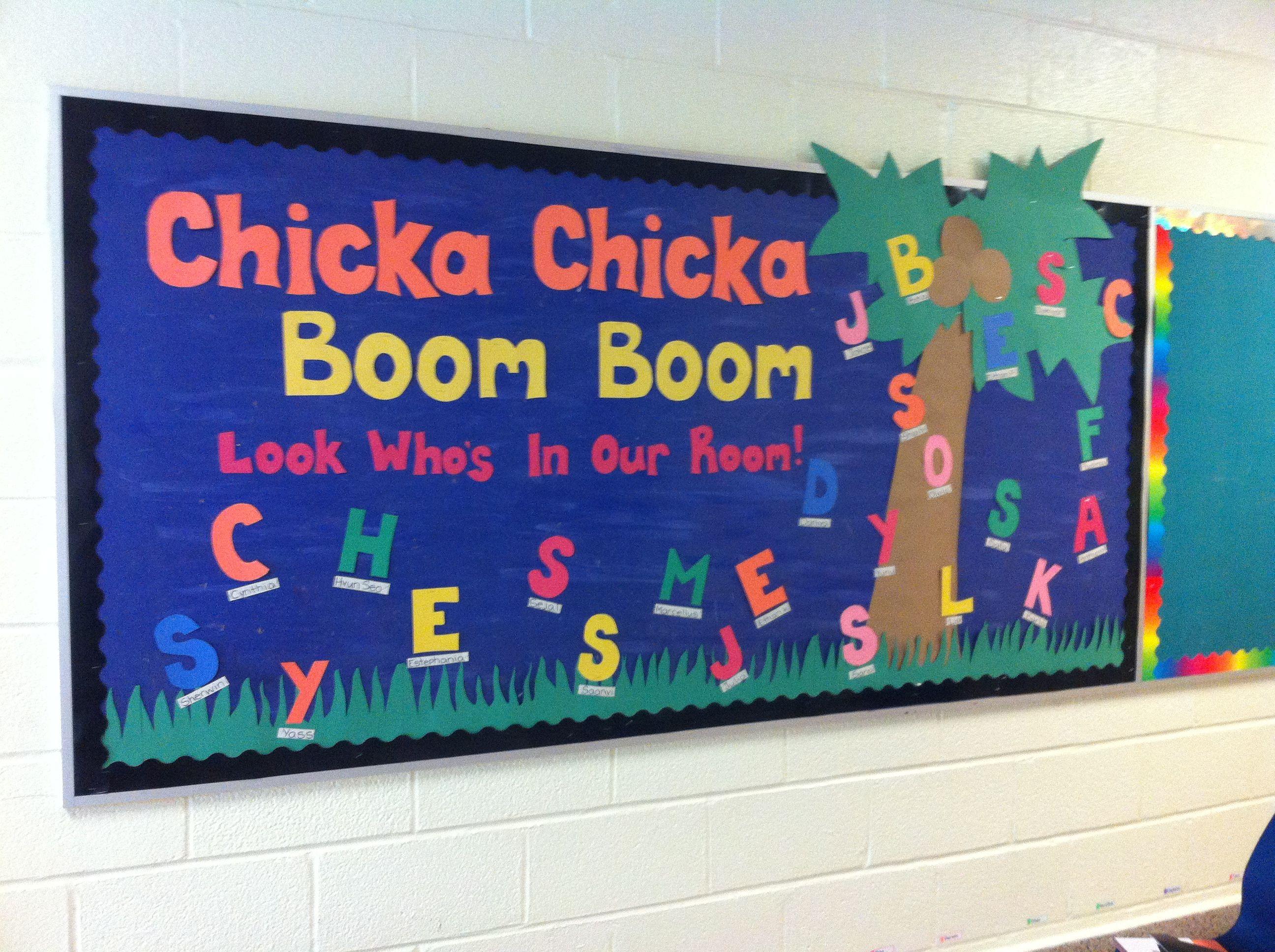 Chicka chicka boom boom: back to school kindergarten bulletin board ...