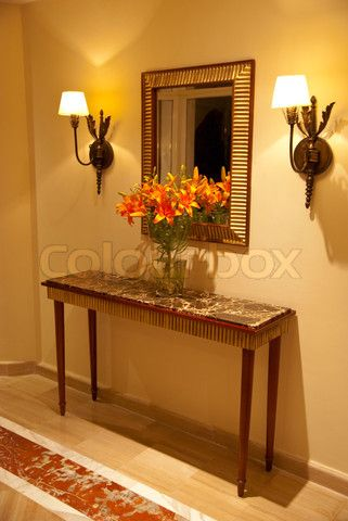 Stock Image Of Foyer Table At Home Entrance With Flowerirror