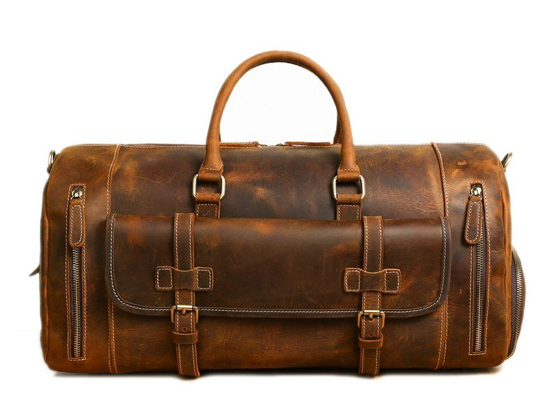 0d728713873 Image of Handmade Vintage Brown Leather Duffle Bag with Shoes Compartment, Travel  Bag LJ1188