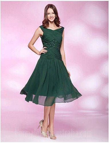f762d403579 Australia Cocktail Party Dresses Holiday Wedding Party Dress Dark Green Plus  Sizes Dresses Petite A-line Princess Bateau Short Knee-length Chiffon Formal  ...