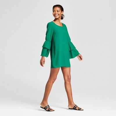 996ef727451 Women s Bell Sleeve Dress - A New Day Green S