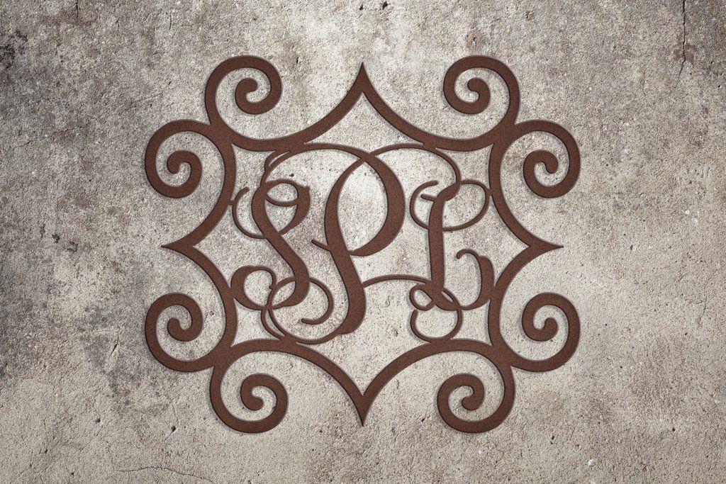 Wrought Iron Inspired Rectangular Wall Art With Three Monogrammed