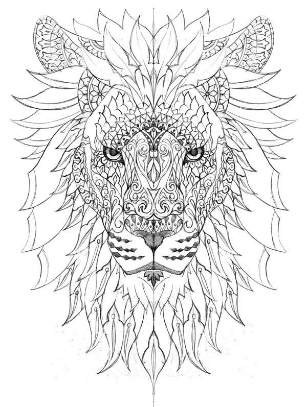 león.- | Tatu | Pinterest | León, Mandalas y Colorear