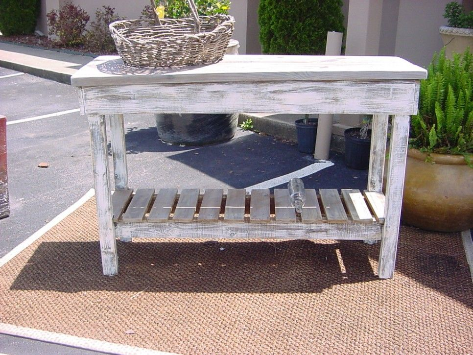 Rustic Outdoor Teak Console Table Made From Reclaimed Wood With