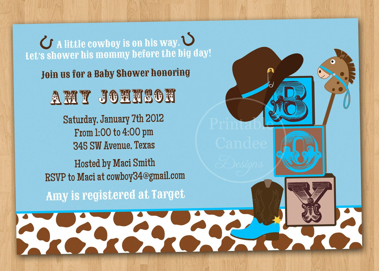 Cowboy Baby Shower Invitation - Cowboy Baby Shower - Western Baby ...