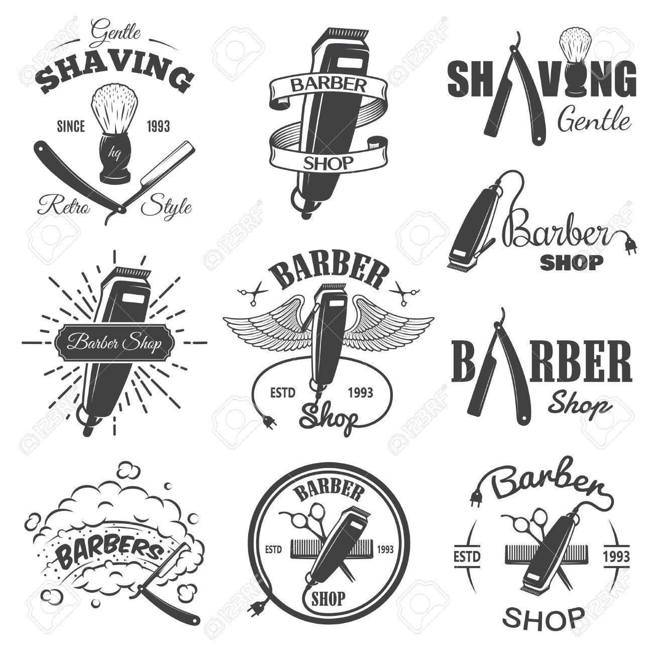 Set Of Vintage Barber Shop Emblems Label Badges And Designed Barber Shop Vintage Barber Barbershop Design