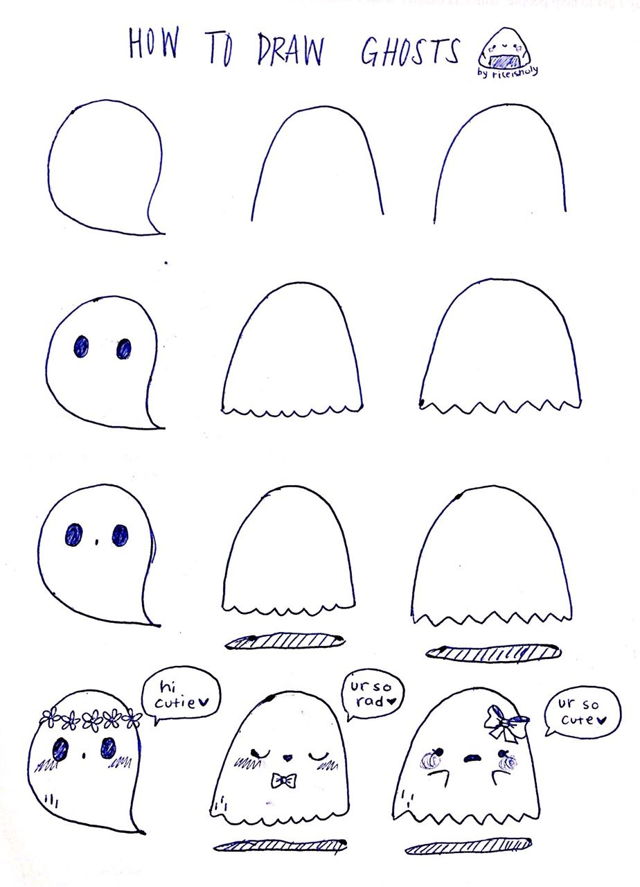 How to draw some simple cute ghosts for halloween art for Cute simple drawings