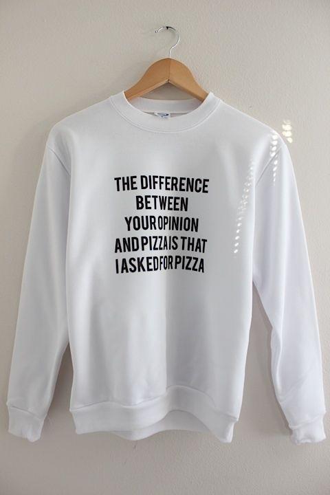 8c767e305eff Your Opinion or Pizza Graphic Crewneck Sweatshirt XL