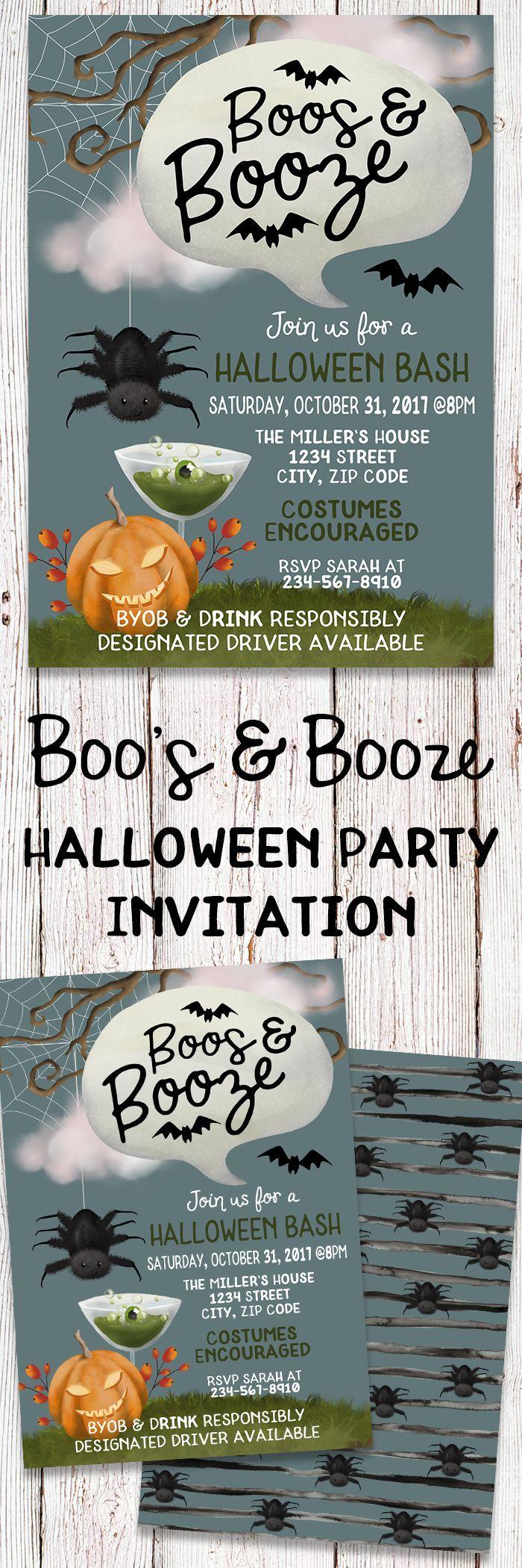 Printable Boo\'s & Booze Halloween Party Invitation. Perfect For An ...
