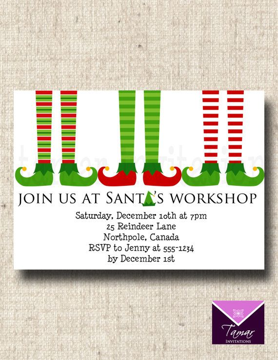 Printable Santau0027s Elf Christmas Party by TamarInvitations on Etsy - invitation to a party
