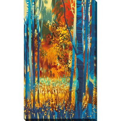 """PicturePerfectInternational 'Autumn Forest with Blue Trees' Graphic Art on Wrapped Canvas Size: 48"""" H x 28"""" W x 1.5"""" D"""