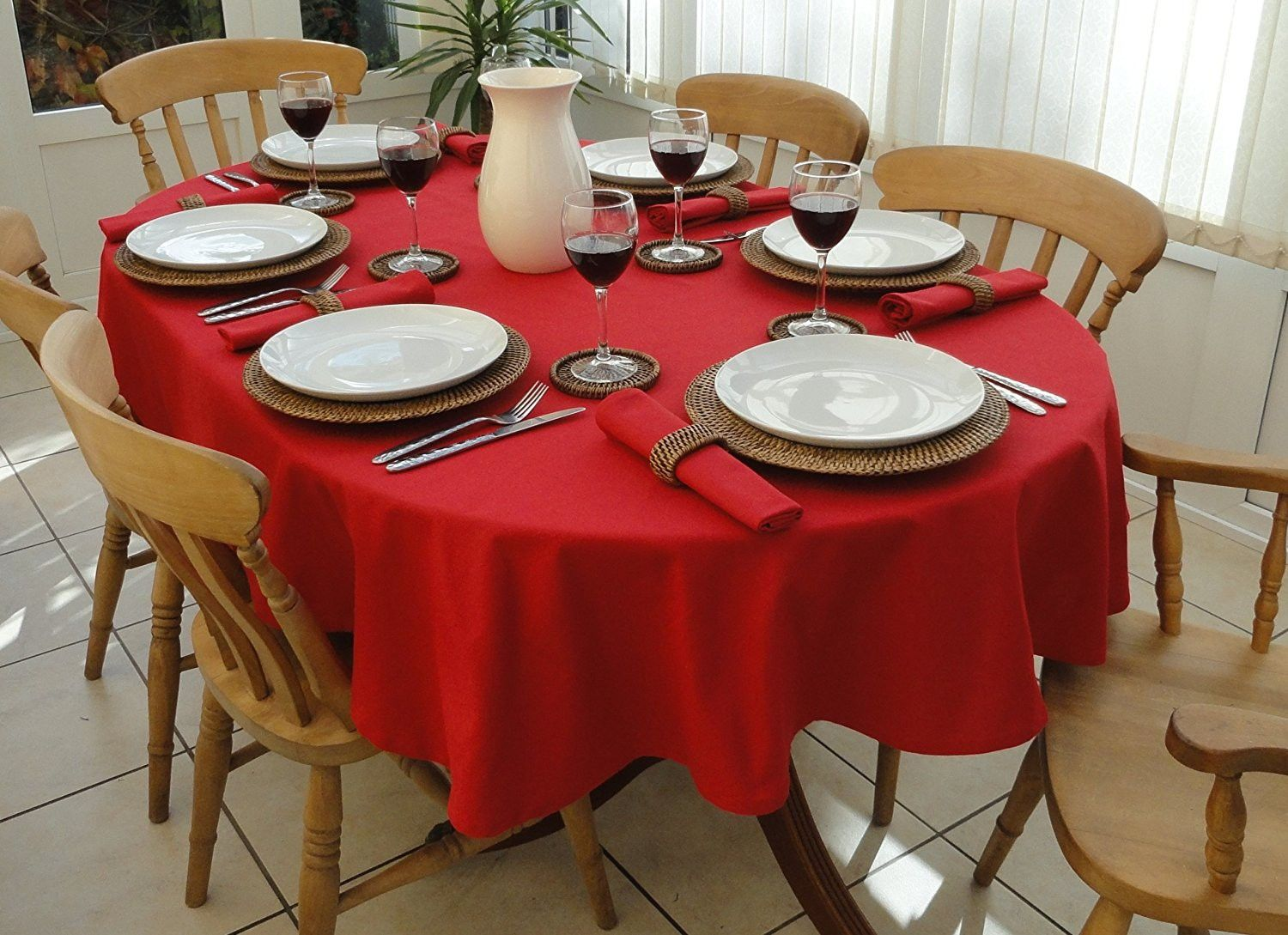 Spun Poly Cotton Blend Oval Tablecloth 52 X 70 Oval Tablecloth