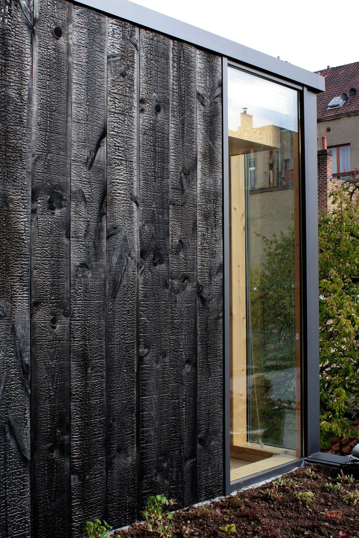 Extention In Brussels With Charred Wood Clading Yakisugi