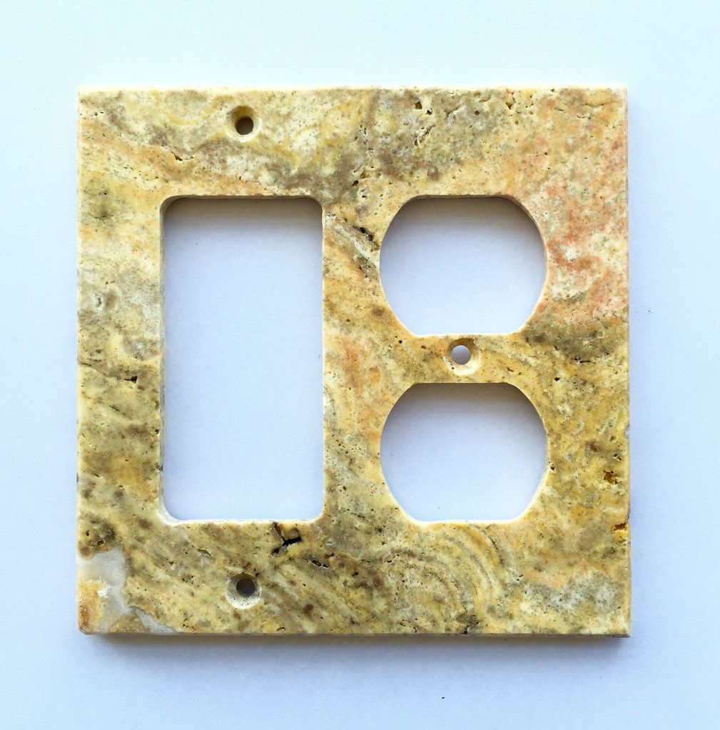 Scabos Travertine Rocker Duplex Switch Wall Plate Cover Honed