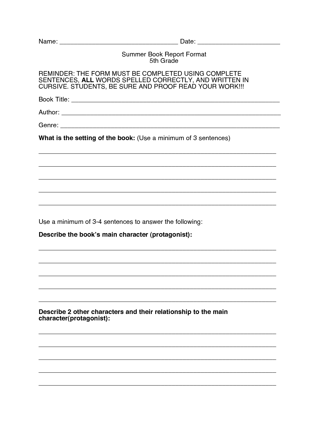 Book Reports 5nd Grade