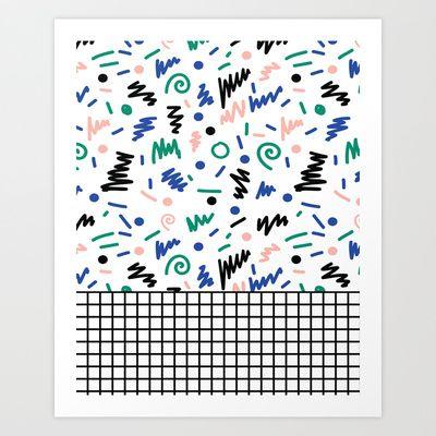 Lainie - 80s, 90s, revival, memphis, design, bright, print, grid, black and white