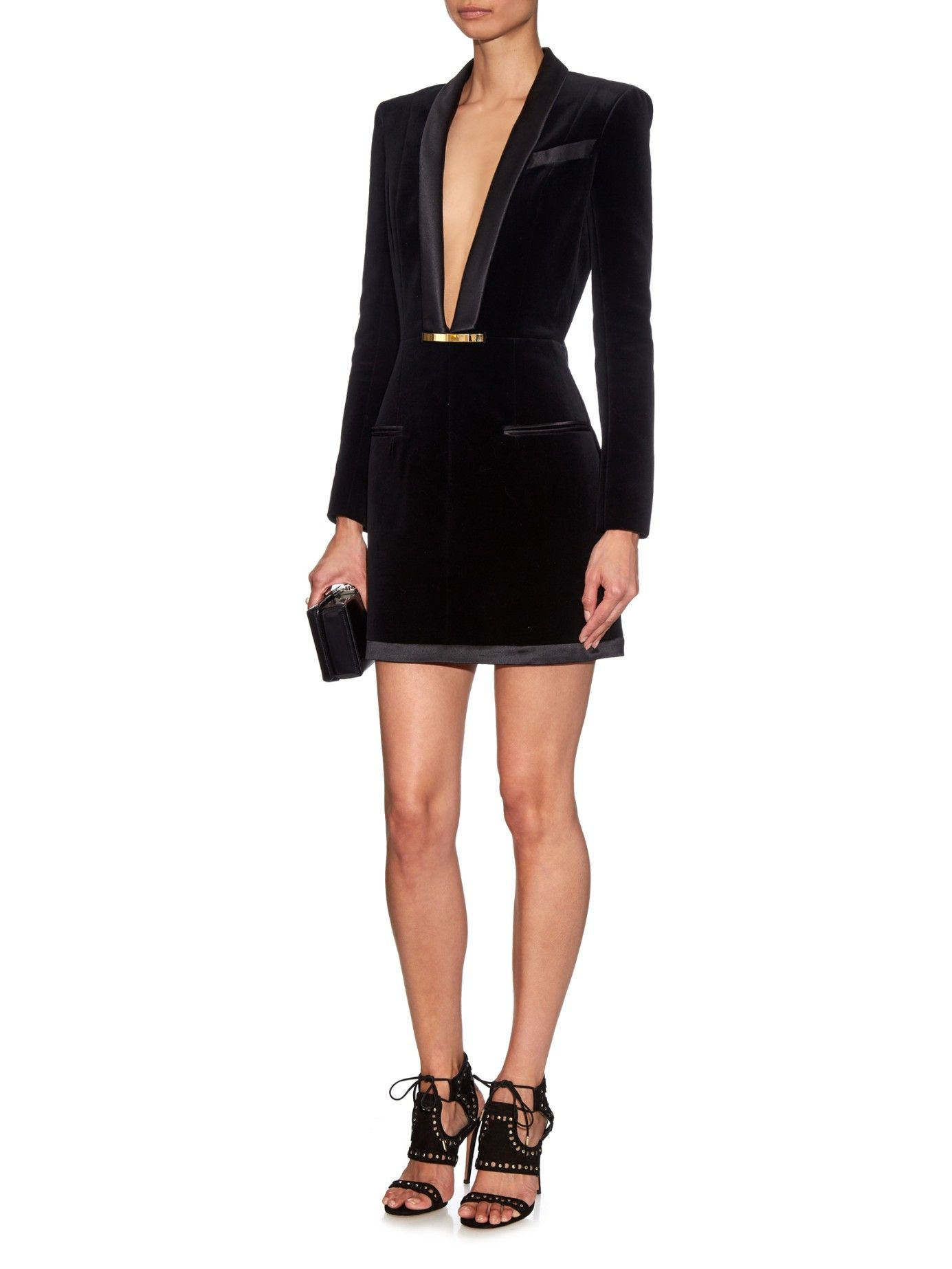 Buy balmain womenus black vneck velvet dress starting at