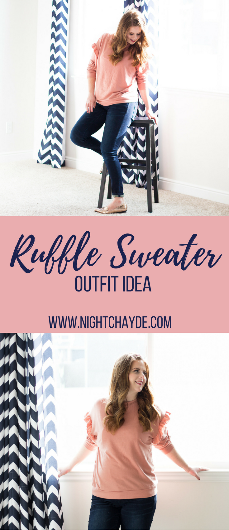 The perfect mauve ruffle sweater outfit idea for any occasion. How to style ruffle sweaters and where to buy them on a budget.