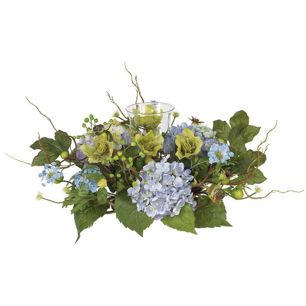 Hydrangea Candelabrum Centerpiece Silk Hydrangeas Hydrangea Arrangements Artificial Flowers