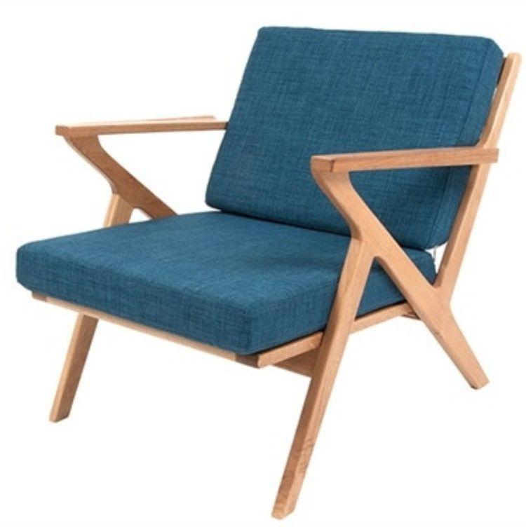 Danish Style Retro Arm Chair With Oak Arms U0026 Frame   Blue U2013 Allissias Attic  U0026 Vintage French Style