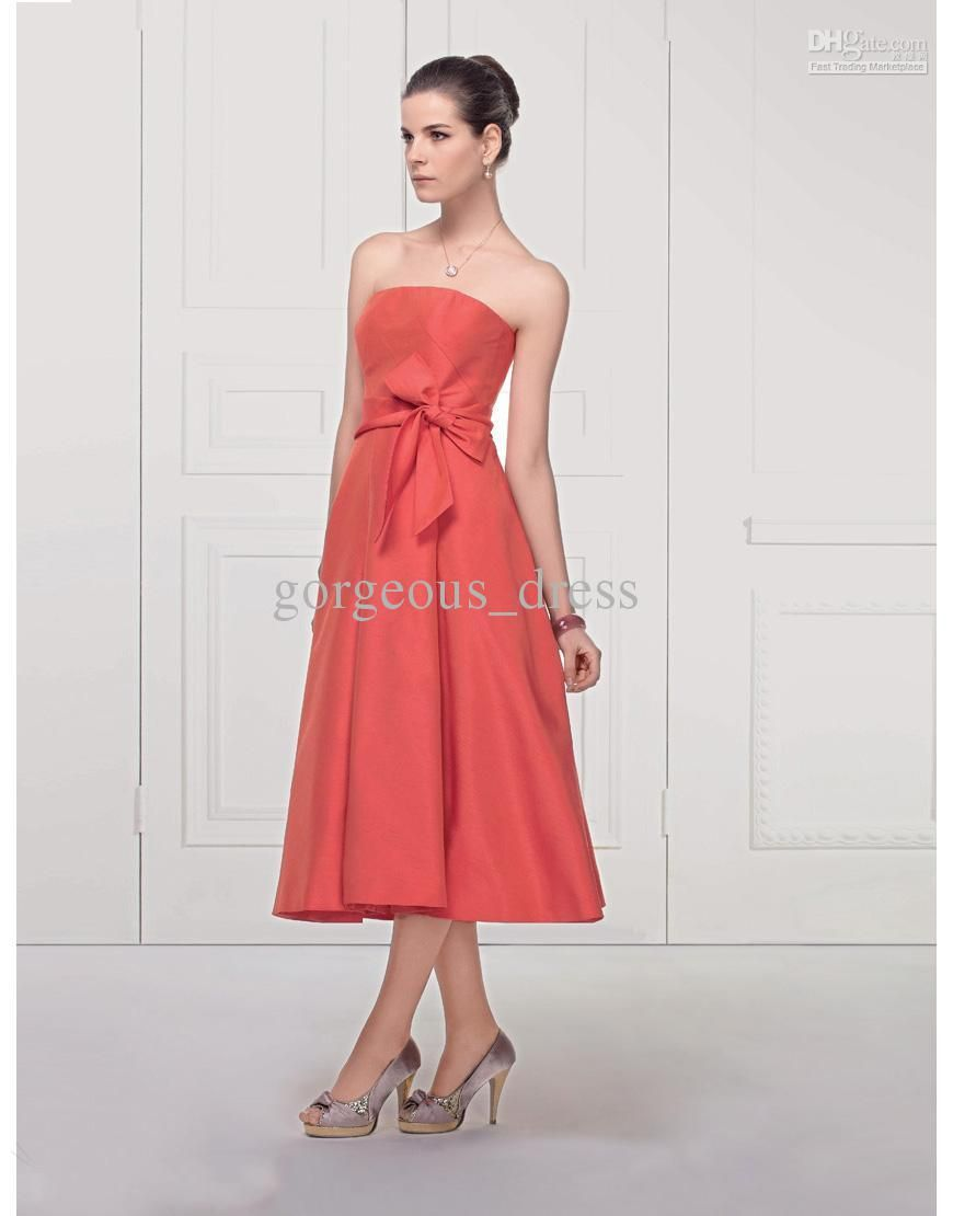 High quality ruffle bow sash chiffon mid calf length for Calf length wedding dresses