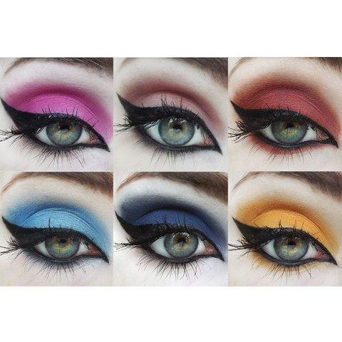 You'll receive six Mineral Eyeshadows in: Sweet Catrina (pinky-neutral) Altar of Roses (crimson red) ¡Viva los Muertos! (electric pink w/ purple shift) Los Angelitos (bright aquamarine) Saint (navy blue-purple) Calavera (marigold-yellow)