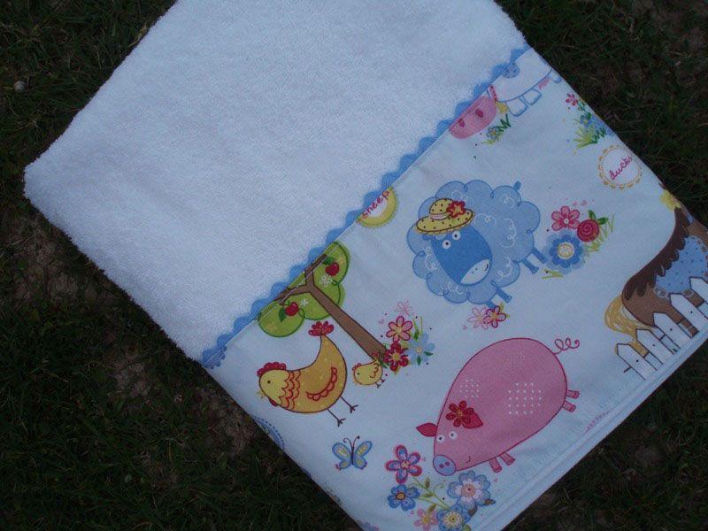 Toalla con tela granja toallas y cestas pinterest - Toallas infantiles personalizadas ...