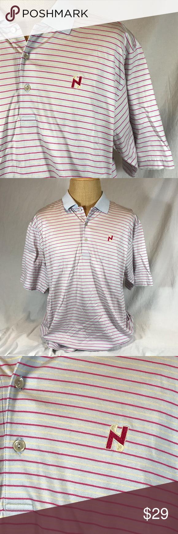 Peter Millar N Logo Golf Polo Shirt Gray Striped Peter