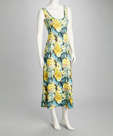 Take a look at this Yellow & Blue Rose Sleeveless Dress by Basement Apparel on #zulily today!