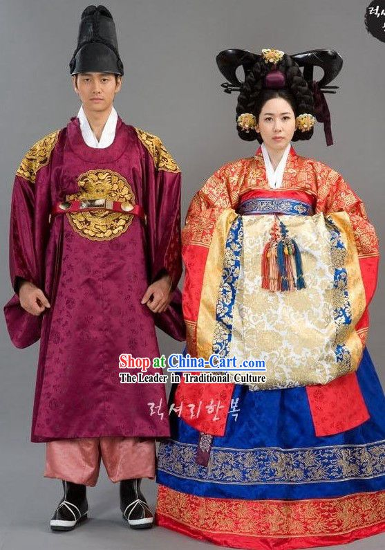 Ancient Korean Wedding Dress 2 Sets for Bride and Bridegroom   옷 ...