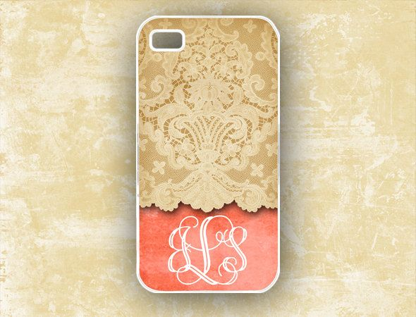 Tangerine Iphone 4 cover 4s case, personalized with lace, designer Iphone case (9643). $17.99, via Etsy.